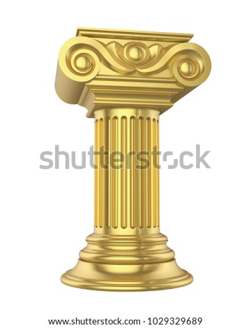 Golden Classic Columns Isolated. 3D rendering