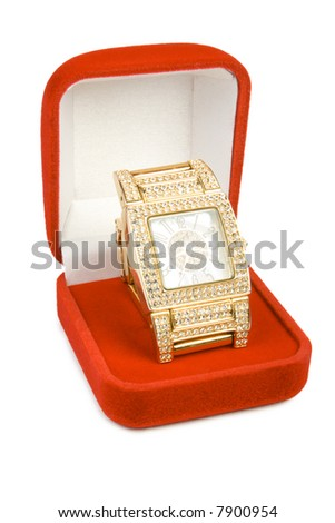 Golden clock in red box. Isolate on white.