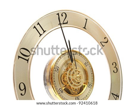 Golden Clock with gears on white - stock photo