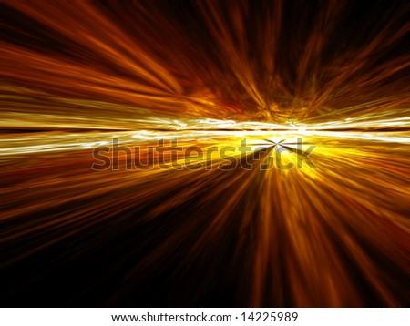 Golden Cloud Vista - fractal illustration - stock photo