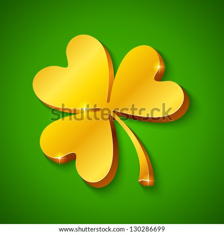 Golden clover on green background for Saint Patrick's day. Raster illustration. Vector version also exist. - stock photo