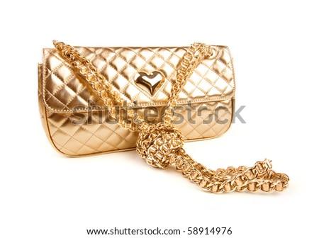 Golden clutch - stock photo