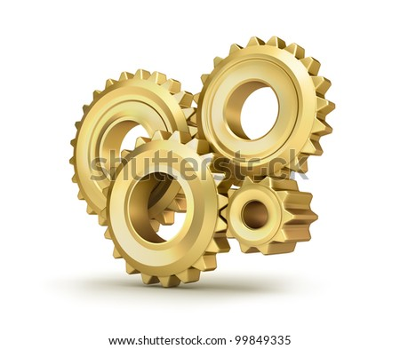 Golden cog gears over white - stock photo