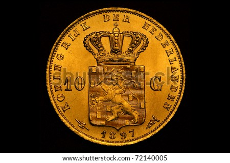 Golden coin - stock photo