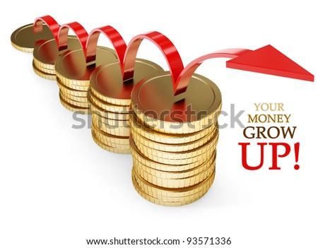golden coin grow money financial concept 3d-illustration isolated on white background - stock photo