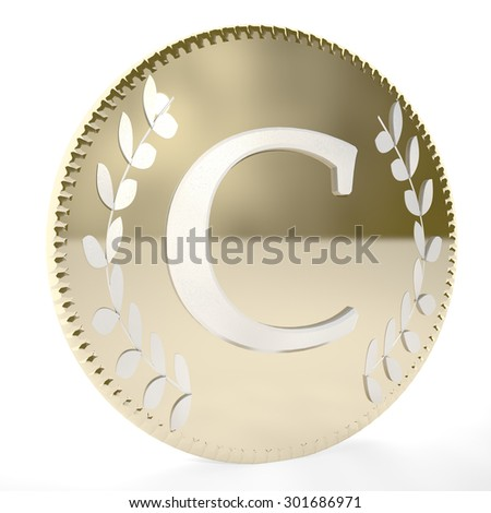 Golden coin with C letter and laurel leaves, white background, 3d render, square image - stock photo