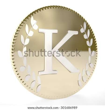 Golden coin with K letter and laurel leaves, white background, 3d render, square image - stock photo