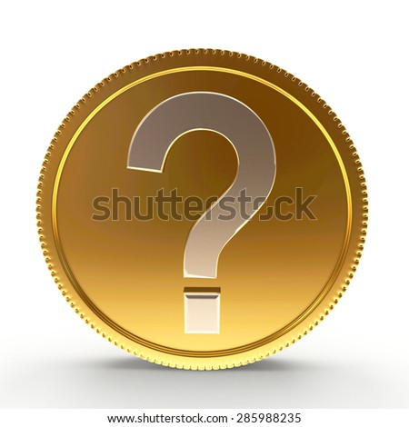 Golden coin with question mark isolated on white background - stock photo