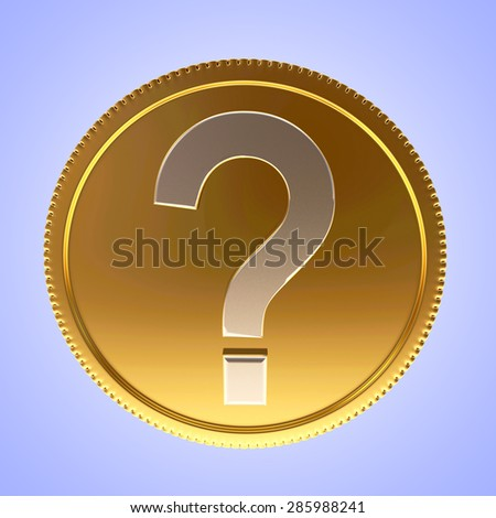 Golden coin with question mark on blue background - stock photo