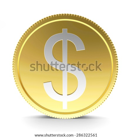 Golden coin with silver dollar sign isolated on white background