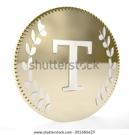 Golden coin with T letter and laurel leaves, white background, 3d render, square image - stock photo