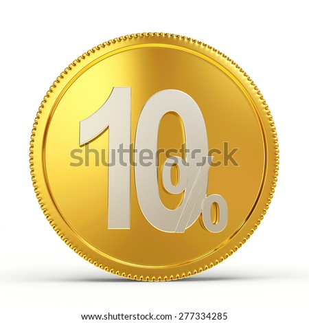 Golden coin with the 10 percent discount isolated on white background - stock photo