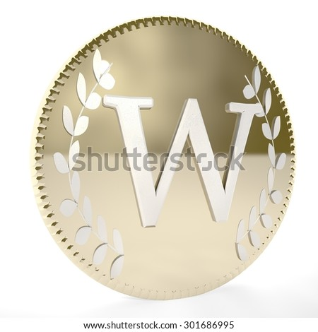 Golden coin with W letter and laurel leaves, white background, 3d render, square image - stock photo