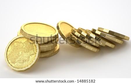 golden coins - stock photo