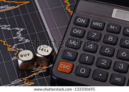 Golden coins and financial chart as  background. Selective focus