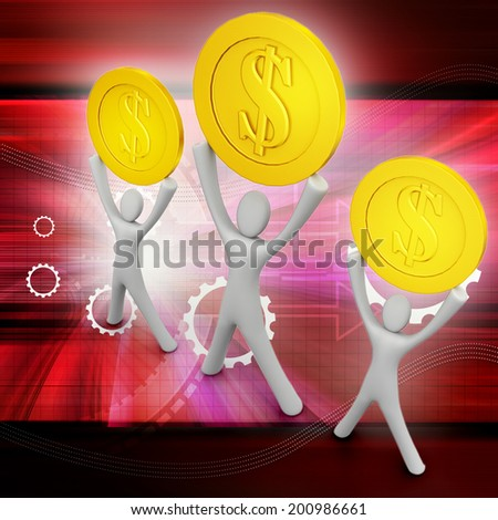 Golden coins and happy 3d small person