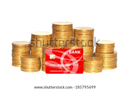 golden coins and red credit card isolated on white
