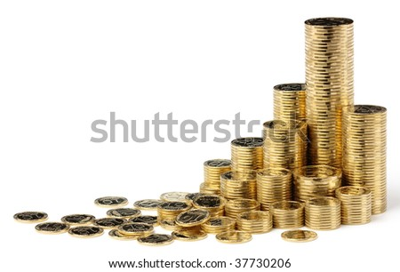 Golden coins arranged in stacks, isolated over white