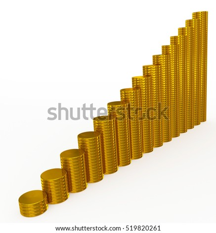 golden coins chart on white - 3d rendering