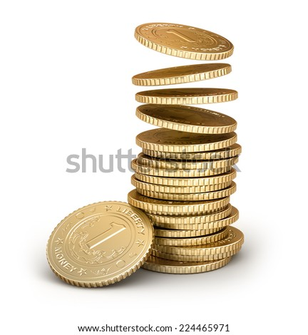 Golden coins falling in pile isolated on white - stock photo