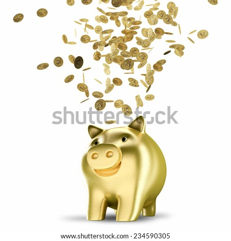 Golden coins falling into a piggy bank isolated on white background - stock photo