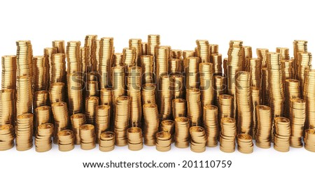 Golden coins in high stacks. Isolated on white. - stock photo