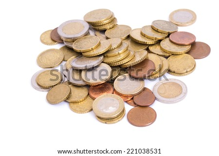 golden coins isolated on white background - stock photo