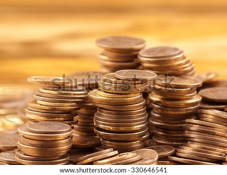 Golden coins macro shot  - stock photo