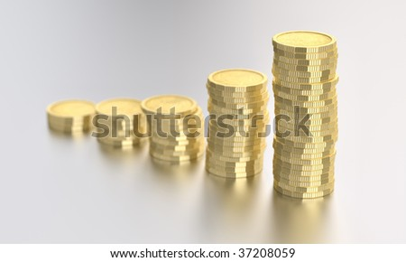 golden coins on white background - stock photo