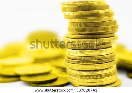 golden coins stack - stock photo
