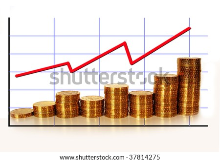 golden coins with graph - stock photo