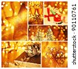 Golden collage of Christmas tree decorations, diversity of gold ornaments, winter holiday gifts and presents, bokeh shining backgrounds - stock photo