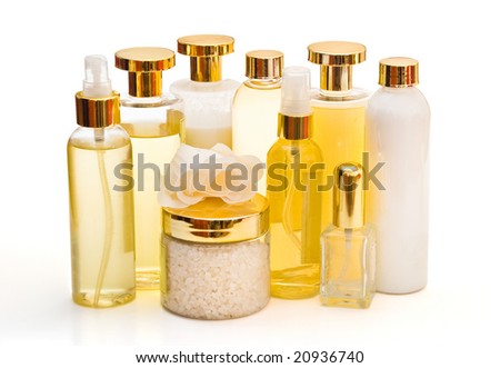 golden collection of beauty and hygiene products isolated on white