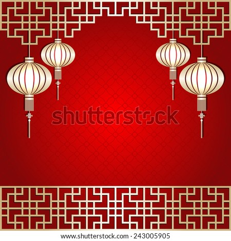Golden Color Chinese New Year Lantern Background - stock photo