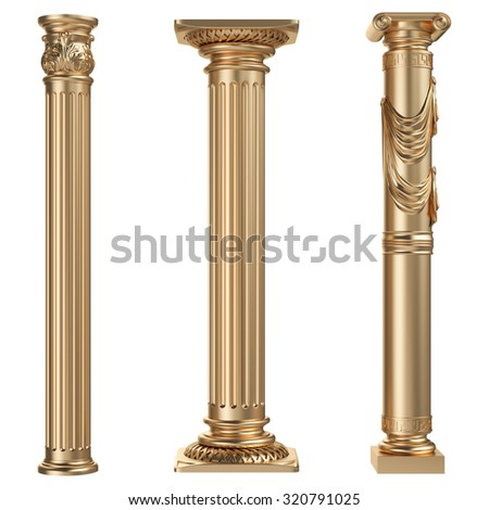 Golden columns isolated on white background. High resolution - stock photo
