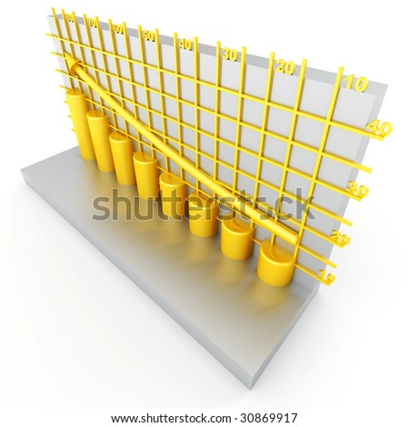 golden columns of diagram with arrow rising upwards - stock photo