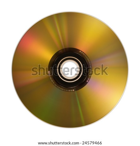 Golden compact disc isolated on white. Hi res. - stock photo