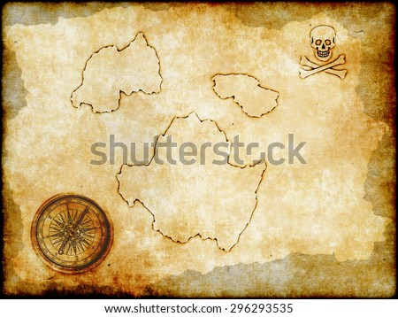 golden compass and the skull and crossbones with vintage map background, Pirate map on vintage paper  - stock photo