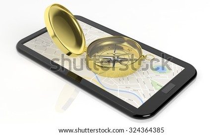 Golden compass on tablet screen with map, isolated on white background. - stock photo
