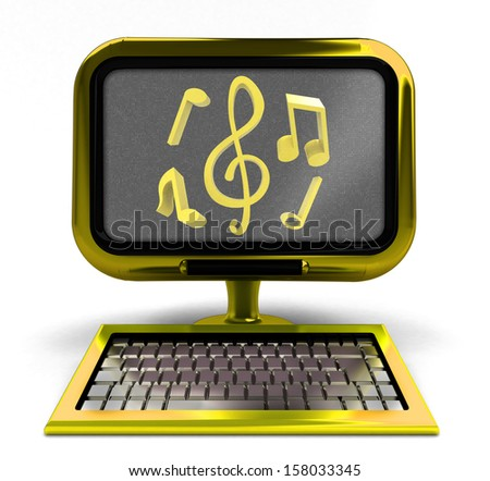 golden computer with music icons on screen concept isolated illustration