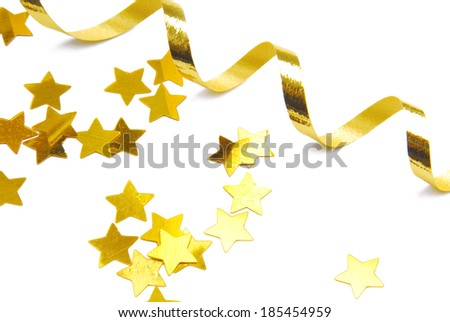 golden confetti and ribbon isolated on white - stock photo