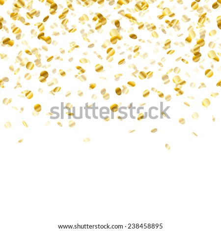 Golden confetti background. Seamless horizontal pattern. Metallic foil.