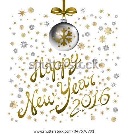Golden confetti falls on the background. Ball with gzhel and khokhloma texture. Happy new year 2016. Holiday card. Template for your design.  illustration. art - stock photo