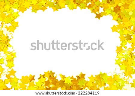 golden confetti  frame border space isolated on white - stock photo