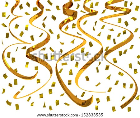 Golden confetti strings - party streamers, 3d  - stock photo