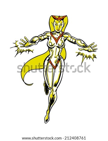 golden cosmic lady comic book illustrated character - stock photo