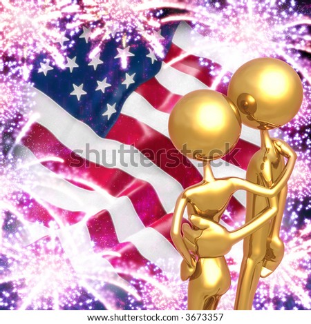 Golden Couple Watching 4th of July Fireworks Display - stock photo