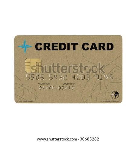 golden credit card isolated on white background, with clipping path - stock photo
