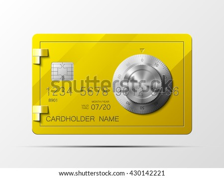 Golden credit card safe combination lock credit card icon plastic card safe combination lock credit card bank card deposit card credit card bank card deposit card credit card bank card deposit card  - stock photo