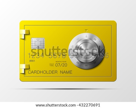 Golden credit card, safe combination lock, credit card, safe combination lock, credit card, safe combination lock, credit card, safe combination lock, credit card, safe combination lock, credit card, - stock photo